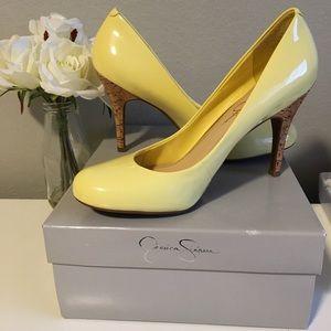Jessica Simpson Yellow Faux Cork Heels